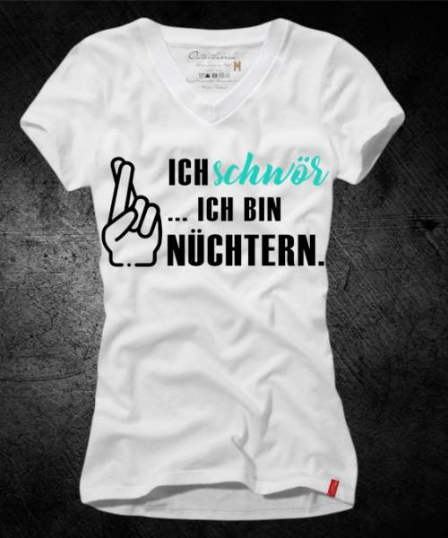 Frauen-Shirt ICH SCHWÖR, ICH BIN NÜCHTERN, weiß mit V-Ausschnitt
