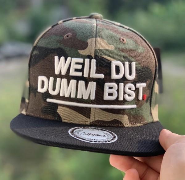 Snapback Cap WEIL DU DUMM BIST, camouflage