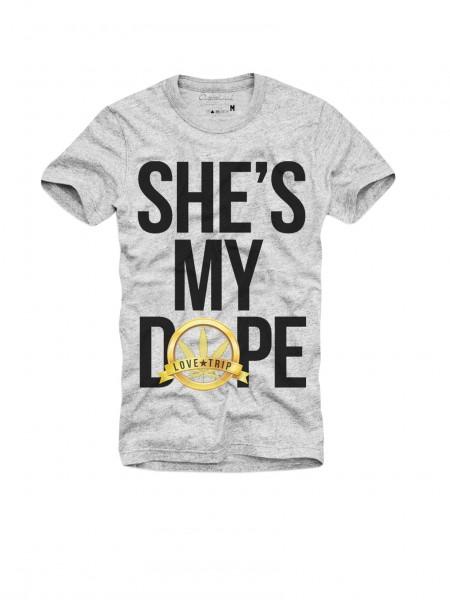 Shirt SHE´S MY DOPE, grau melange