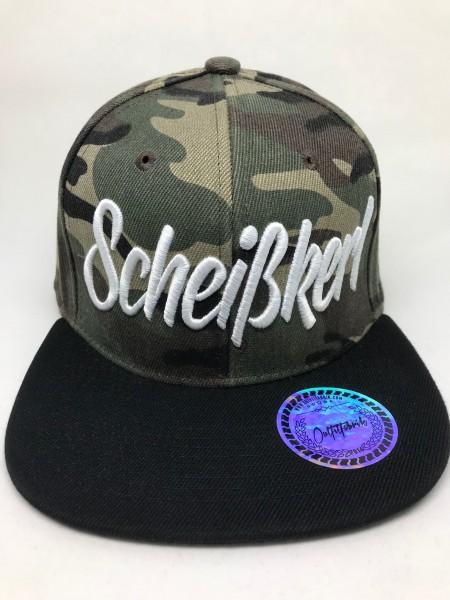 Snapback Cap SCHEISSKERL, camo/schwarz