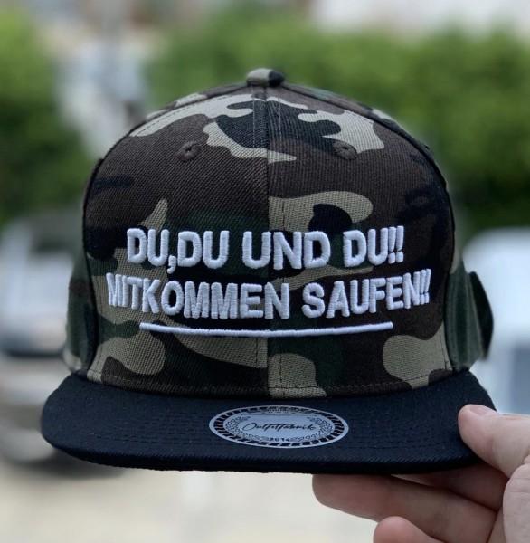 Snapback Cap DU, DU UND DU. MITKOMMEN SAUFEN, camouflage/schwarz