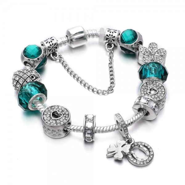 Armband - Luck&Love in türkis/silberfarben