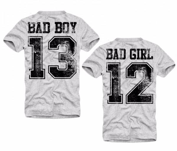 Shirt BAD BOY oder BAD GIRL, grau
