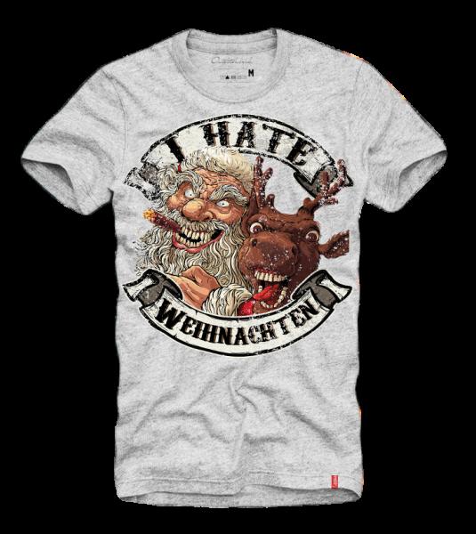 Shirt I HATE WEIHNACHTEN, grau (Ugly CHristmas, Xmas)