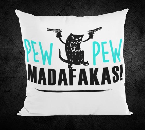 """Kissenbezug """"Pew Pew Madafakas"""", weiß"""