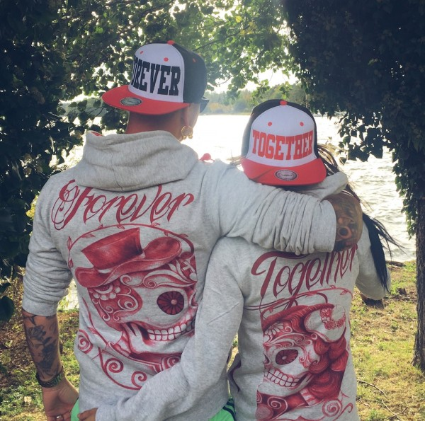 Hoodie, FOREVER oder TOGETHER, grau/rot
