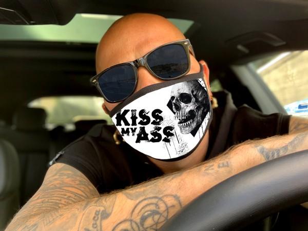 Nasen-Mund-Maske KISS MY ASS, schwarz