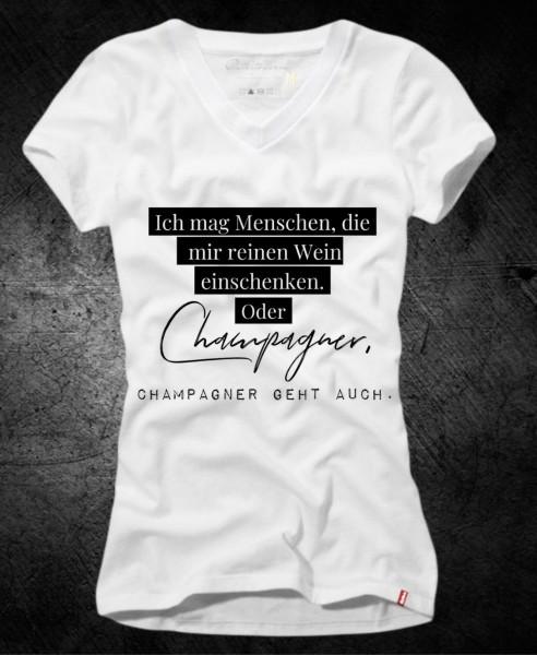 Frauen-Shirt CHAMPAGNER, weiß mit V-Ausschnitt