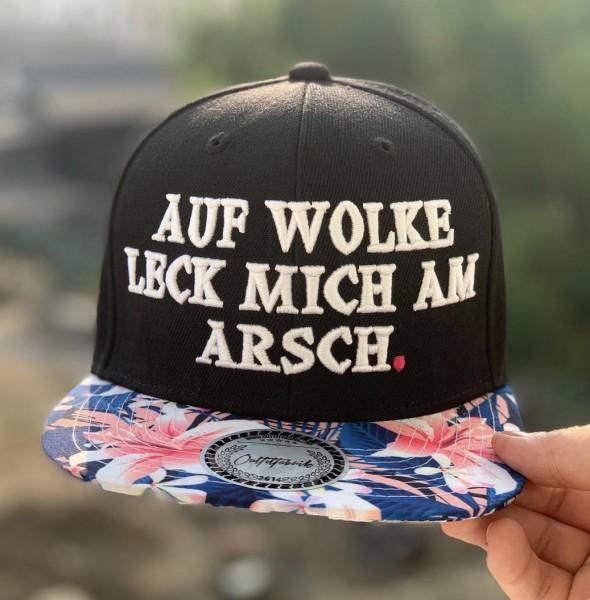 Snapback Cap AUF WOLKE LECK MICH AM ARSCH, flower