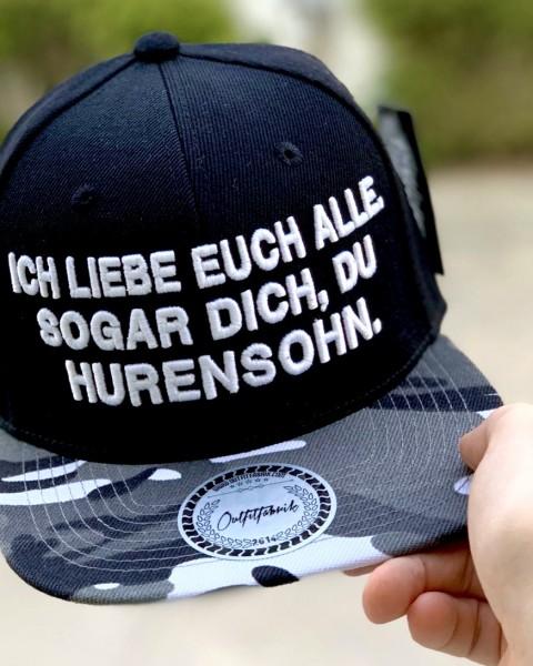 Snapback Cap ICH LIEBE EUCH ALLE , schwarz/camo