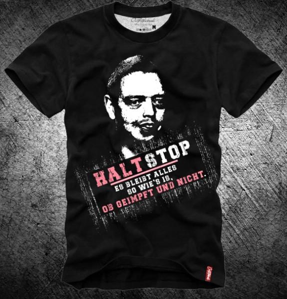 "Shirt ""HALT STOP, BLEIBT ALLES SO WIE´S IS"" schwarz"