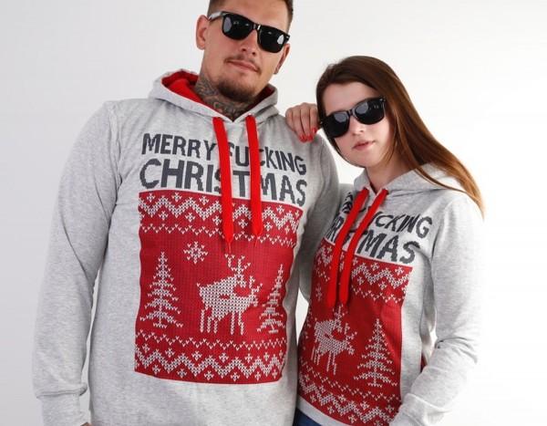 Hoodie, MERRY FUCKING CHRISTMAS, grau/rot (Weihnachten, Ugly Xmas)