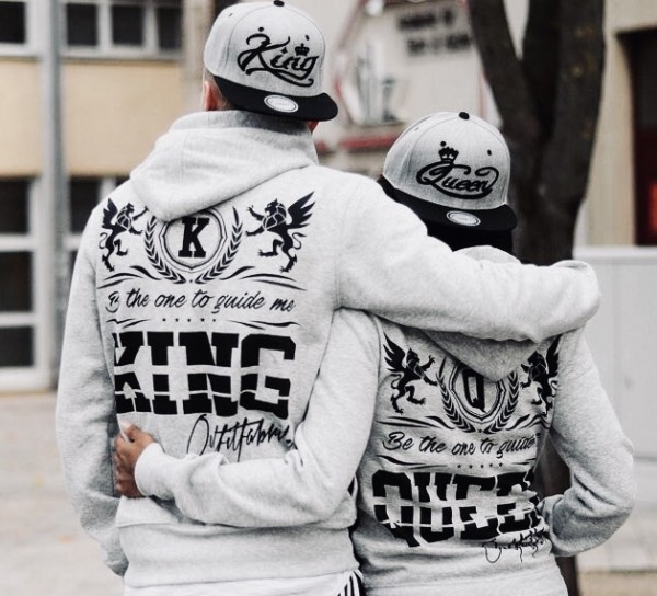 Hoodie, KING oder QUEEN, ROYAL COUPLE, grau