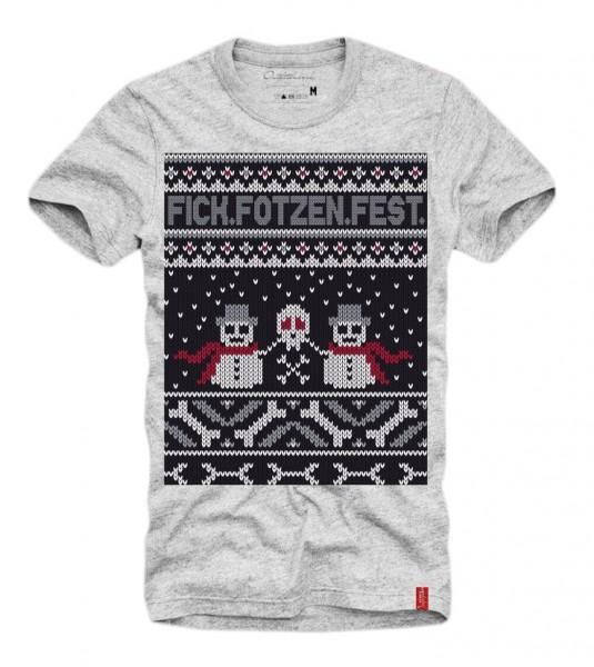 Shirt FICK FOTZEN FEST (Xmas, Ugly Christmas, Weihnachten), grau
