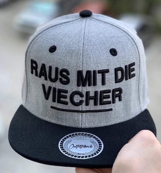 Snapback Cap RAUS MIT DIE VIECHER, grau/schwarz