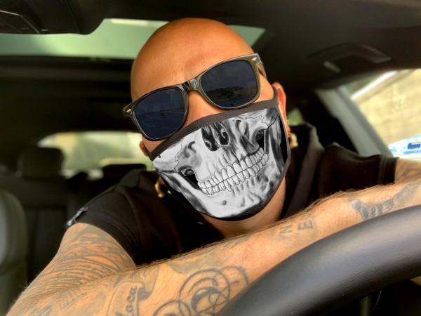Nasen-Mund-Maske SKULL, schwarz