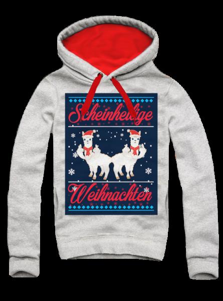 Hoodie, SCHEINHEILIGE WEIHNACHTEN (Xmas, Ugly Christmas), grau