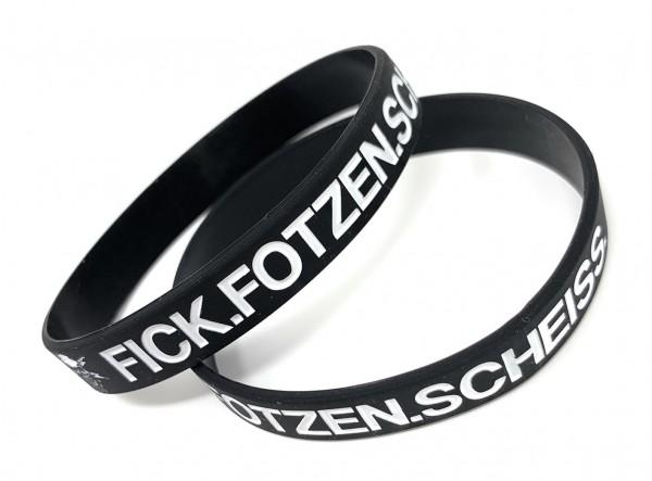 """1 Silikonarmband """"Fick Fotzen Scheiß"""" schwarz/weiß"""