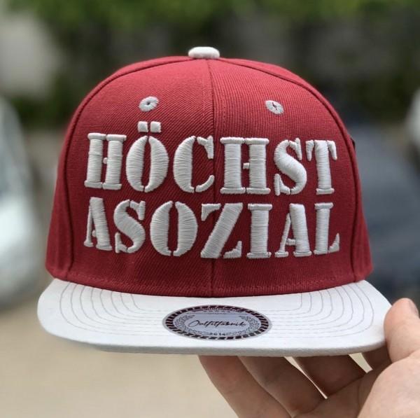 Snapback Cap HÖCHST ASOZIAL, bordeaux/weiß
