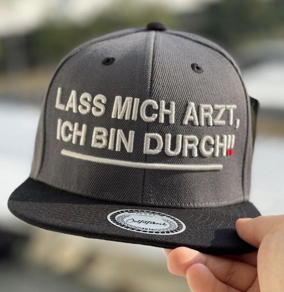 Snapback Cap LASS MICH ARZT, ICH BIN DURCH, dunkelgrau/schwarz