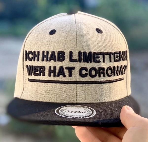Snapback Cap ICH HAB LIMETTEN, WER HAT CORONA, grau/schwarz