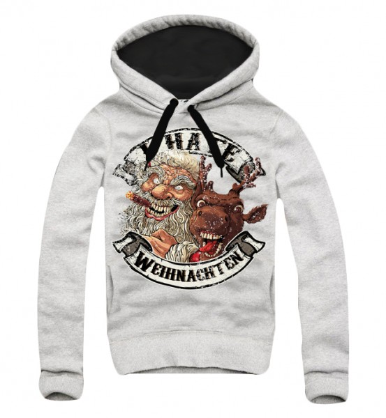 Hoodie,I HATE WEIHNACHTEN, grau (Ugly Christmas, Xmas)