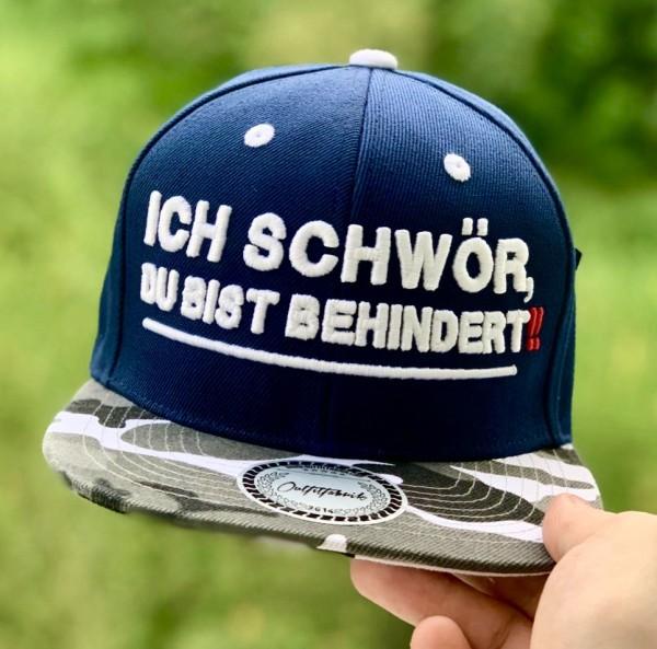 Snapback Cap ICH SCHWÖR, DU BIST BEHINDERT, blau/camouflage