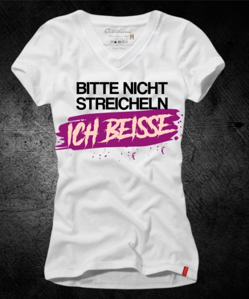 Frauen-Shirt BITTE NICHT STREICHELN, ICH BEISSE, weiß mit V-Ausschnitt