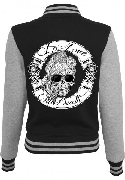 Collegejacke IN LOVE TILL DEATH - GIRL, schwarz/grau