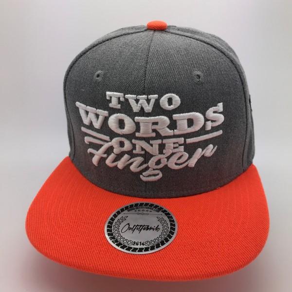 Snapback Cap TWO WORDS ONE FINGER, grau/orange