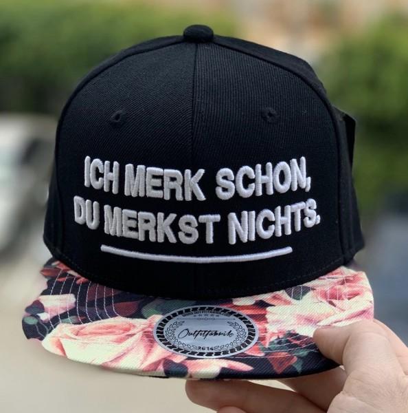 Snapback Cap ICH MERK SCHON, DU MERKST NICHTS, flower