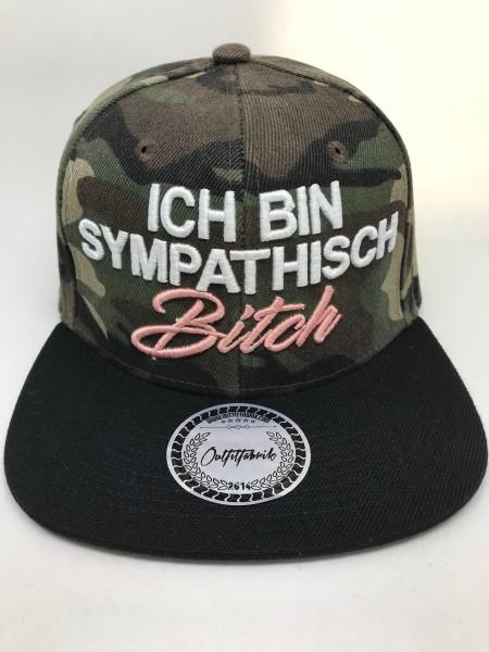 Cap ICH BIN SYMPATHISCH BITCH, camo/schwarz