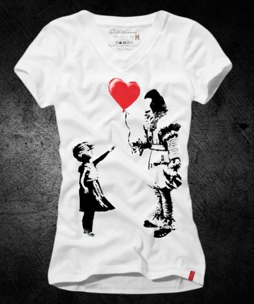 Frauen-Shirt HERZBALLON, weiß mit V-Ausschnitt