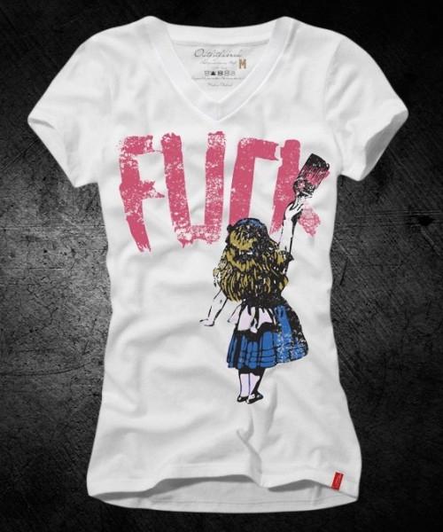 Frauen-Shirt FUCK, weiß mit V-Ausschnitt