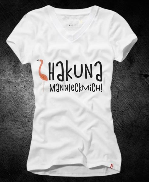 """Frauen-Shirt """"Hakuna Mannleckmich"""", weiß mit V-Ausschnitt"""