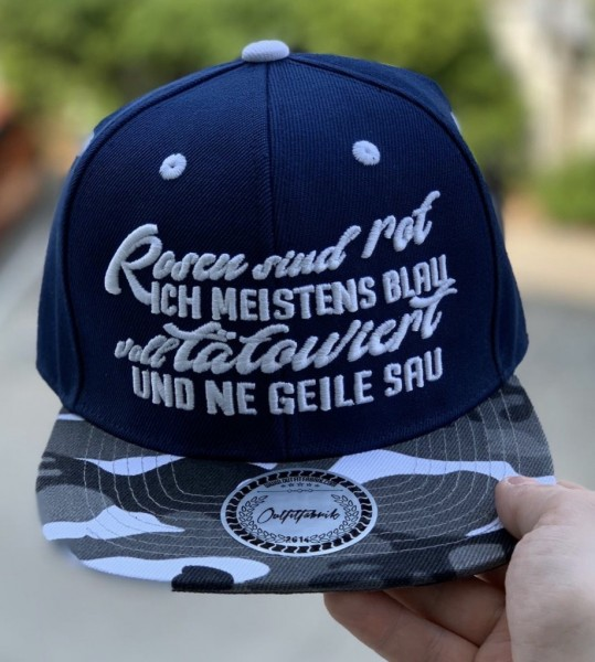 Snapback Cap ROSEN SIND ROT, bau/camo