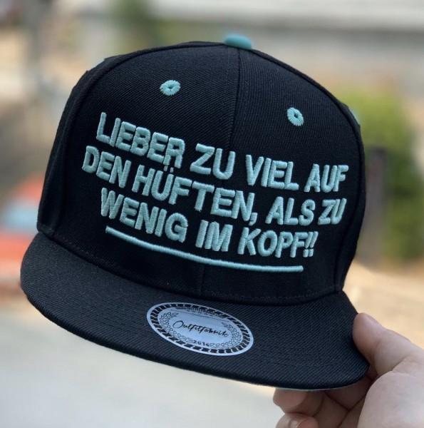 Snapback Cap LIEBER ZU VIEL AUF DEN HÜFTEN, schwarz/mint