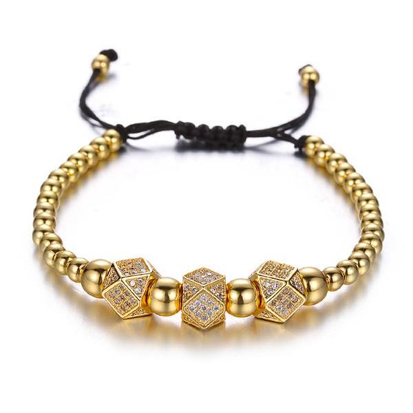 Armband - Polyeder/goldfarben