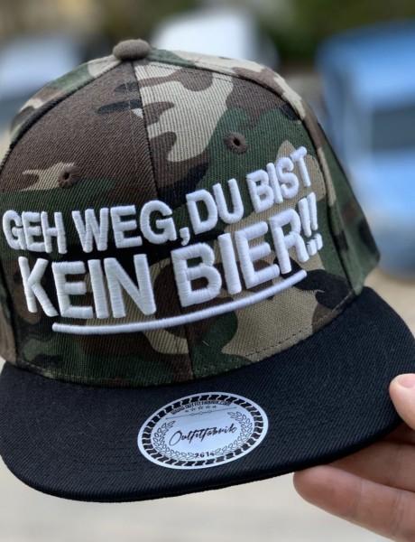 Snapback Cap GEH WEG DU BIST KEIN BIER, camouflage
