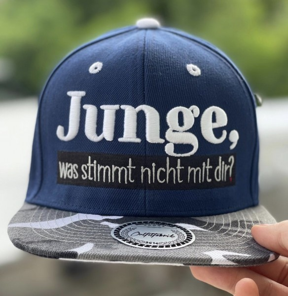 Cap JUNGE, WAS STIMMT NICHT MIT DIR?, blau/camouflage