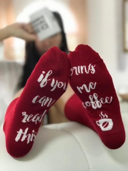 Socken BRING ME COFFEE, rot/weiß