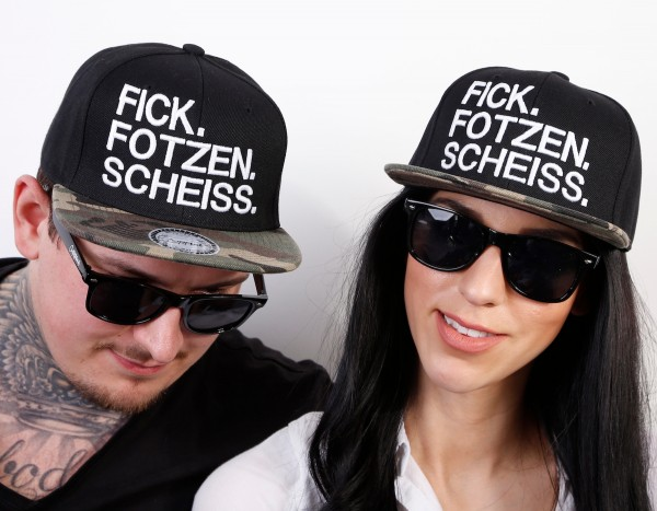 Snapback Cap FICK.FOTZEN.SCHEISS, schwarz/camouflage