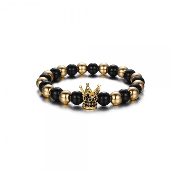 Armband - Krone schwarz/goldfarben