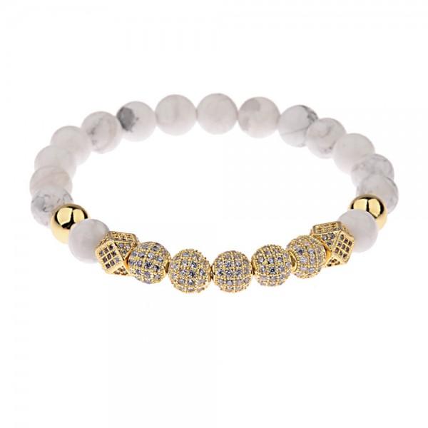 Armband - Natursteinperlen/weiß