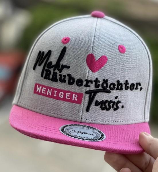 """KIDS-Cap """"Mehr Räubertöchter, weniger Tussis"""" grau/rosa"""