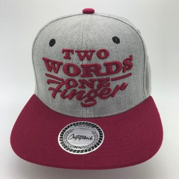 Snapback Cap TWO WORDS ONE FINGER, grau/bordeaux