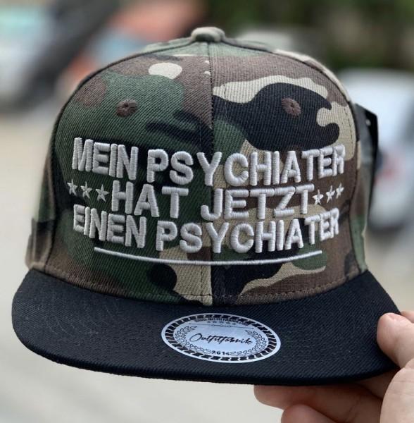 Snapback Cap MEIN PSYCHIATER, camouflage/schwarz