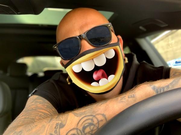 Nasen-Mund-Maske LOL, schwarz