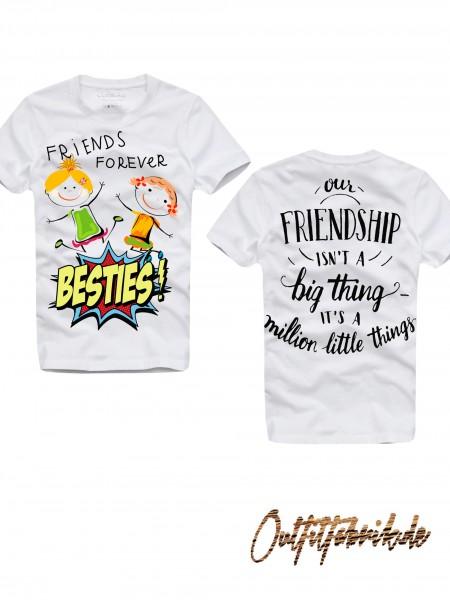 Shirt BESTIES, GIRLS, weiß
