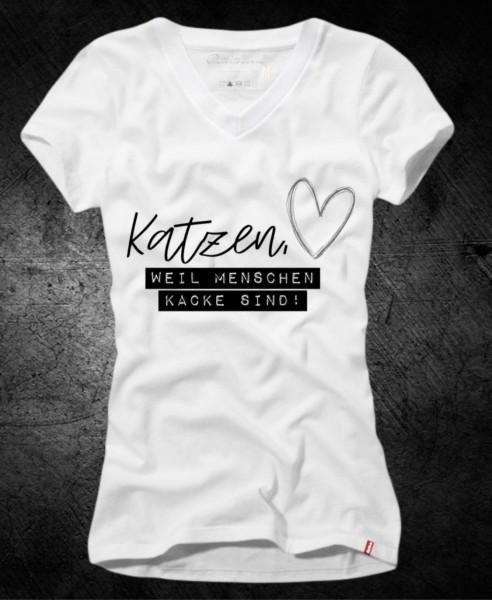 """Frauen-Shirt """"Katzen, weil Menschen kacke sind"""", weiß mit V-Ausschnitt"""